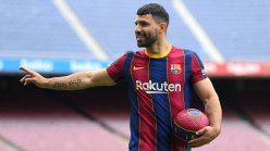 Aguero scores first Barcelona goal in training match after returning from injury